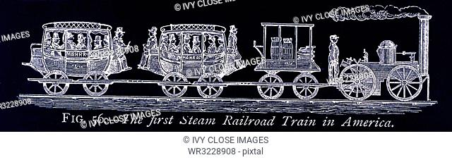 This illustration dates to the 1870s and shows the first steam railroad in America - the United States. The image is from a painting in the possession of the...