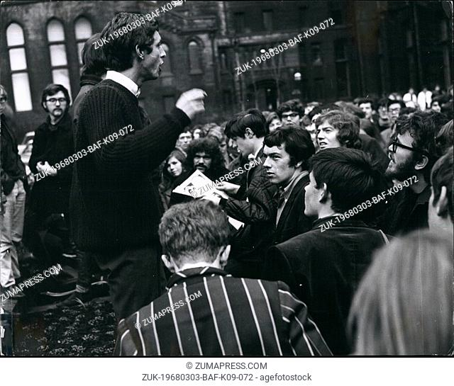 Mar. 03, 1968 - Students sweep away barriers: Glyn Carver, 19, of Derby, one of the two Manchester University students suspended for preventing a lecture by Mr