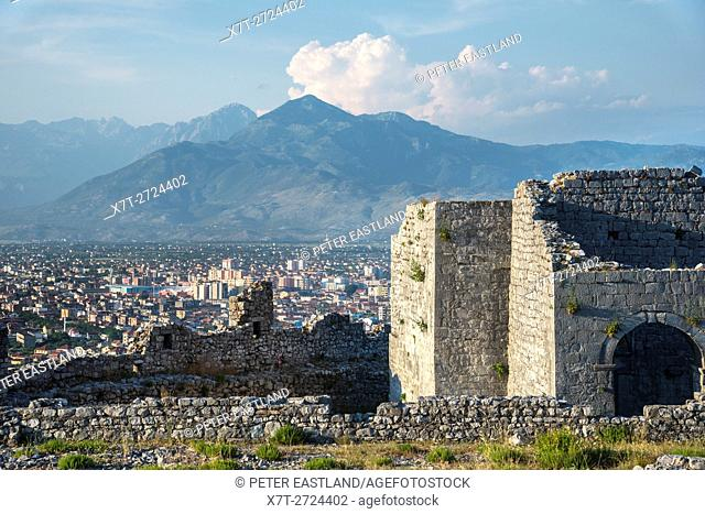 Looking across the city of Shkodra from the walls of Rozafa Castle with the Dinaric alps in the background Shkodra, Northern Albania