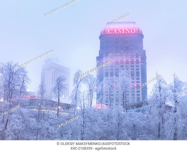 Wintertime scenery of Fallsview Casino, Niagara Falls, Ontario, Canada