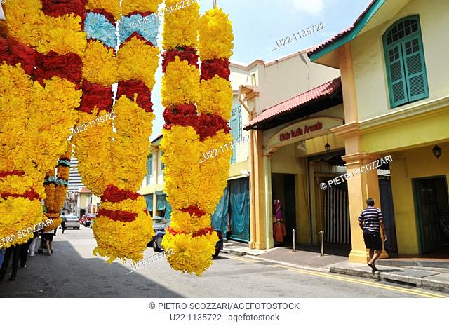 Singapore: garlands sold by Little India Arcade mall