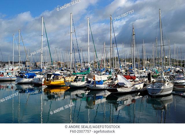 Boats and sailboats at Port Moselle marina, Noumea, New Caledonia, South Pacific