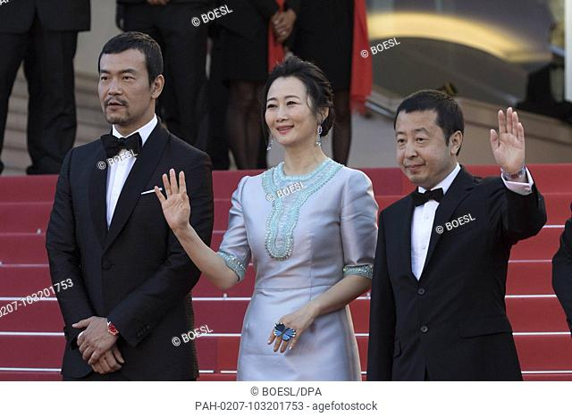Fan Liao (l-r), Zhao Tao and director Zhangke Jia attend the premiere of 'Ash Is The Purest White' during the 71st Cannes Film Festival at Palais des Festivals...