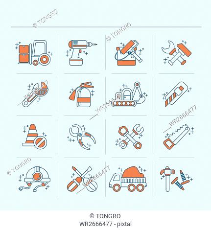 Line icons related to construction