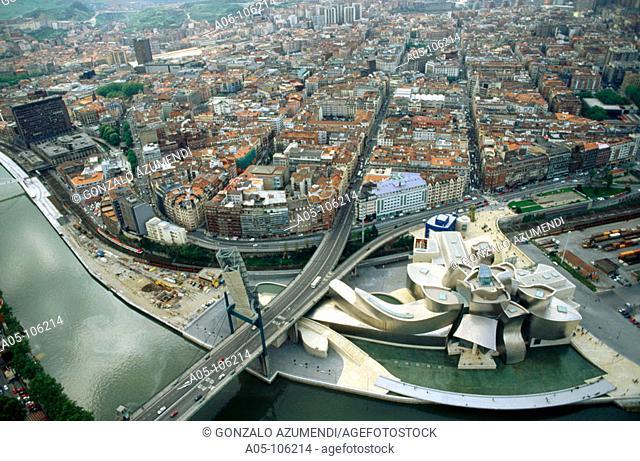 Nervión estuary. Guggenheim Museum. Bilbao. Vizcaya. Euskadi. Spain
