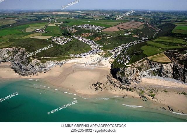 Aerial of Porthtowan, Cornwall, UK