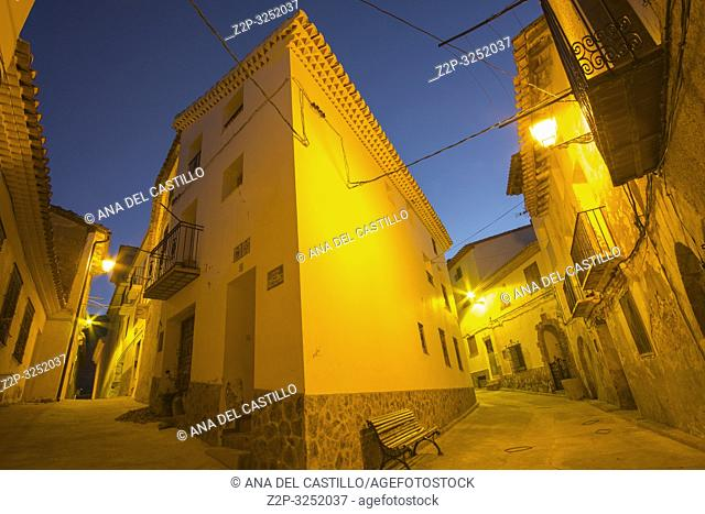 Arcos de las Salinas village by dusk Teruel province Aragon Spain