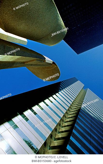 SKYSCRAPERS and MODERN ART ABSTRACT SCULPTURE, USA, Texas, Dallas