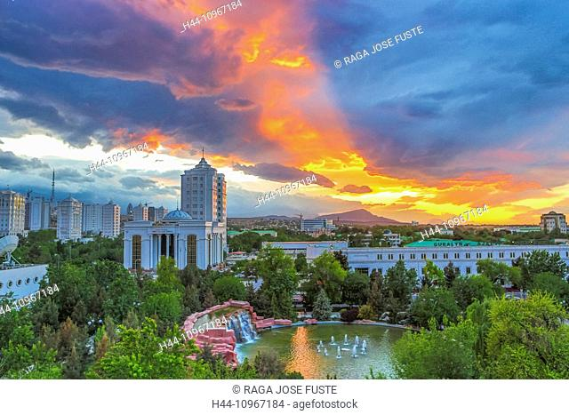 Ashgabat, Turkmenistan, Central Asia, Asia, city, colourful, downtown, dramatic, sunset