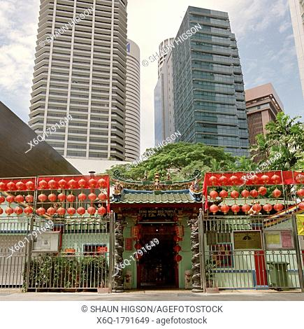 Seng Wong Beo Temple in Central Business District of Singapore in Southeast Asia Far East. This small temple is famous for conducting ghost marriages