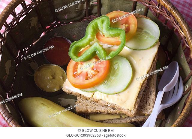 Close-up of sandwiches in a basket