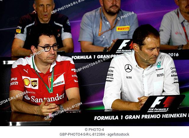 02.09.2016 - Press conference, Mattia Binotto (ITA) Chief Technical Officer, Scuderia Ferrari and Aldo Costa (ITA) Mercedes AMG F1 Engineering Director