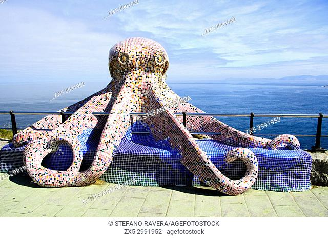 Sculpture of an octopus on the waterfront in La Coruna - Galicia, Spain