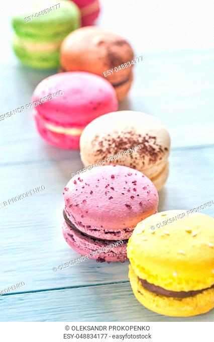 Colorful macarons on the table