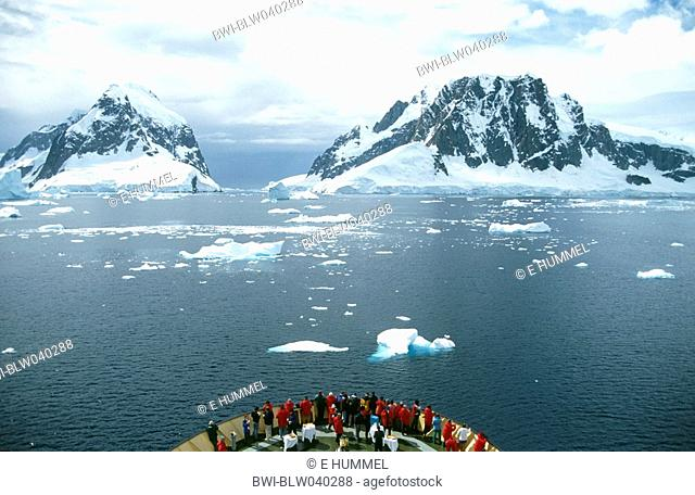 Lemaire Channel, entrance from the South, spectacular sight with enormous sheer cliffs falling straight into the sea, Antarctica