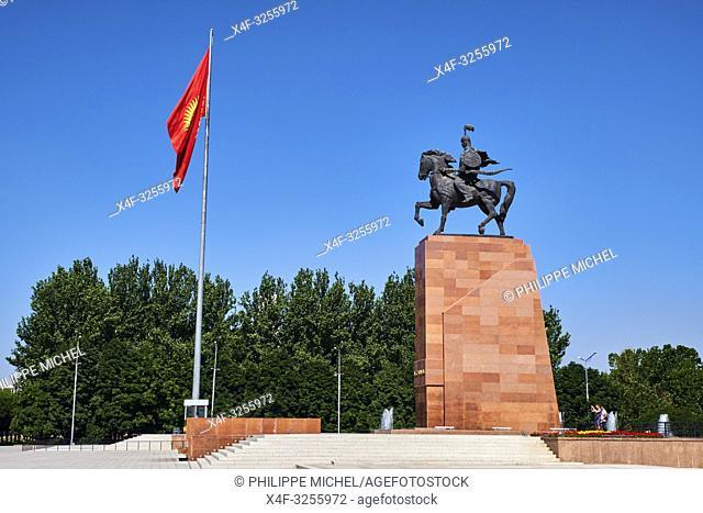 Kirghizistan, Bishkek, place Ala-Too, la statue de Manas / Kyrgyzstan, Bishkek, Ala-Too square, Manas statue