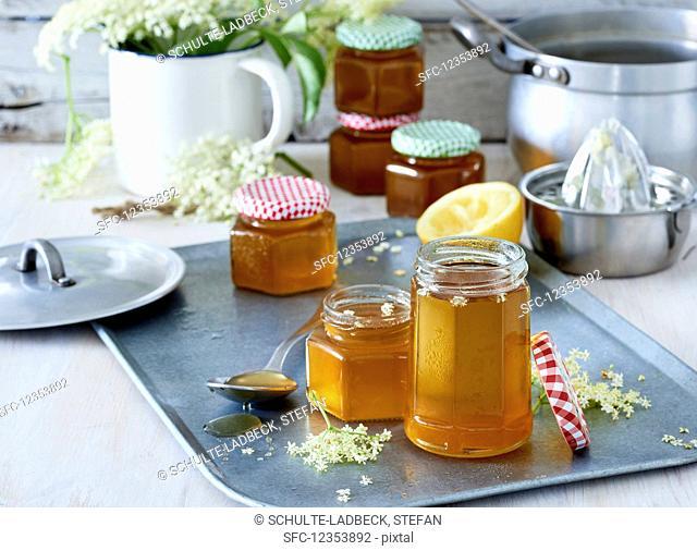 Elderberry jelly in glass jars