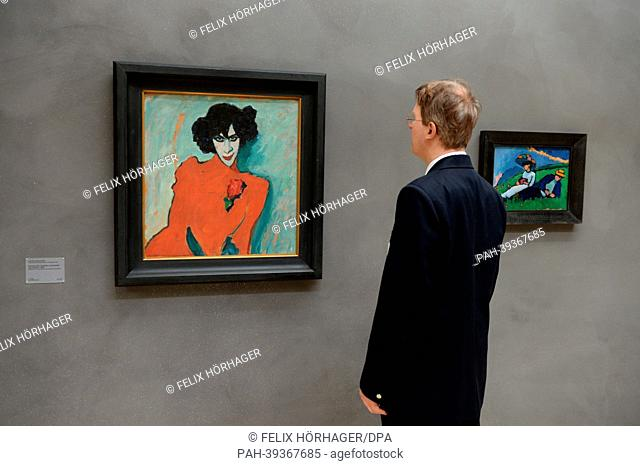The work 'Portrait of dancer Alexander Sacharoff' by Alexej von Jawlensky is on display in the newly renovated Lenbachhaus in Munich, Germany, 06 May 2013