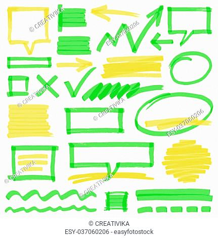 Set of hand drawn colorful highlighter design elements, marks, stripes and strokes, speech bubbles and arrows. Can be used for text highlighting