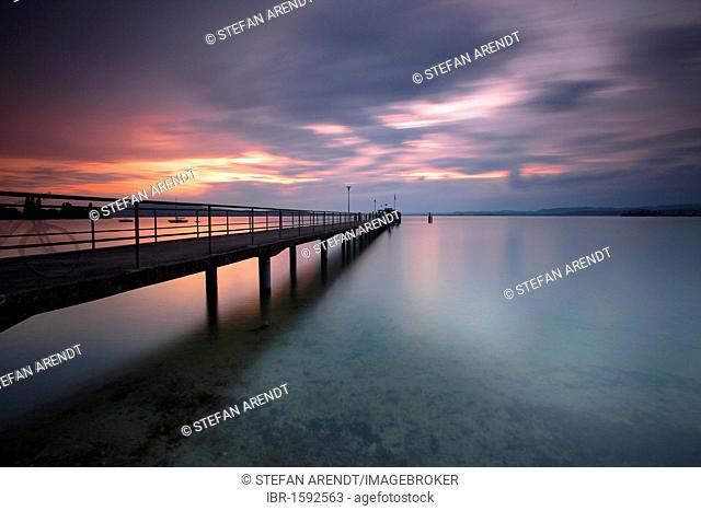 Pier at Lake Constance in the evening light, Mannenbach, Switzerland, Europe