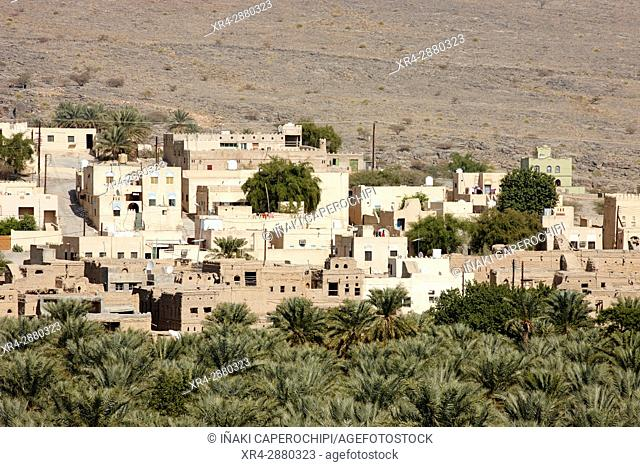 Palms and townscape. Historic town of Al Hamra, Oman