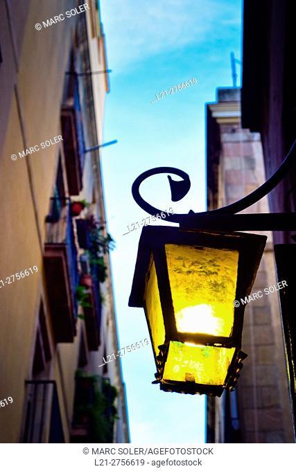Streetlight, lantern. Barcelona, Catalonia, Spain