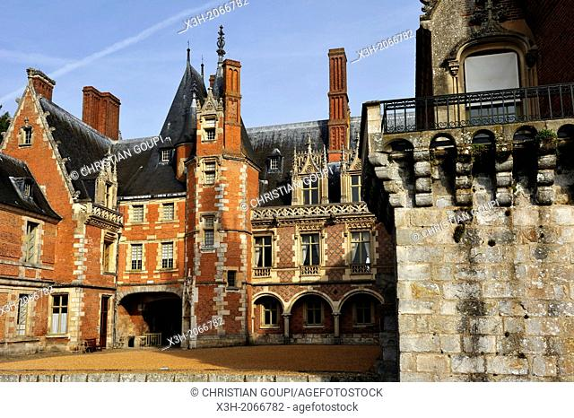 main courtyard of Chateau de Maintenon, Eure & Loir department, region Centre, France, Europe