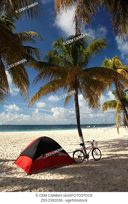 A tent and a bicycle under the palm trees at the beach of Isla Mujeres, Cancun, Quintana Roo, Yucatan Province, Mexico, Central America