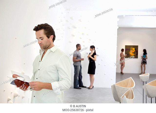 Group of people in art gallery