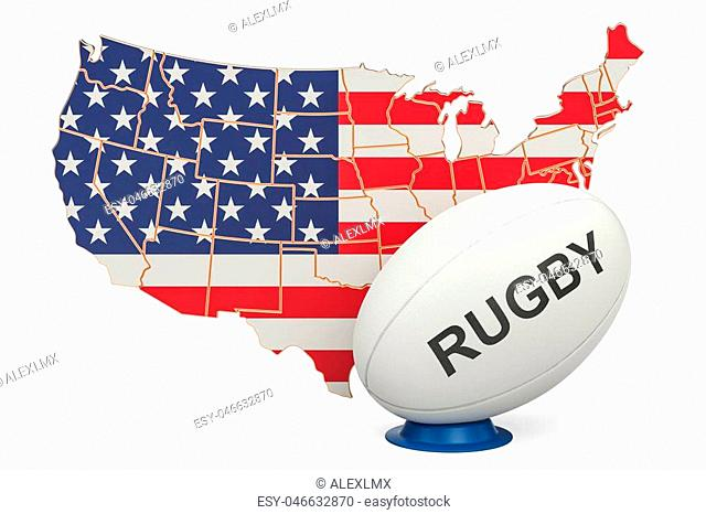 Rugby Ball with map of USA, 3D rendering