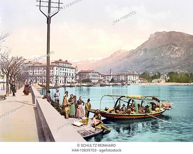 Switzerland, Europe, Lugano, quay, Canton Ticino, canton Tessin, Lake Lugano, Town, Photochrom, history, historic, his