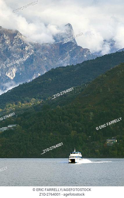 Ferry crossing Lake Como Italy