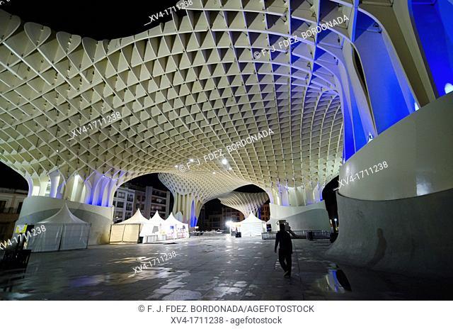 Metropol Parasol structure at De la Encarnacion Square, it was designed by Jürgen Mayer-Hermann  Seville, Andalusia, Spain, Europe