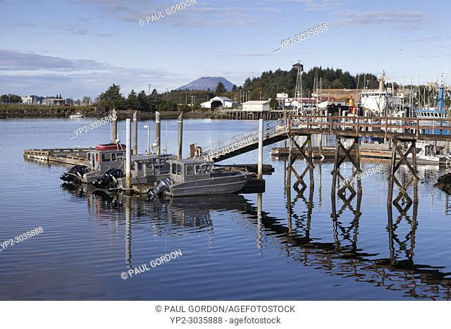 Sitka, Alaska: Fishing boats docked in Sitka Harbor. In the distance is Mount Edgecumbe on neighboring Kruzof Island