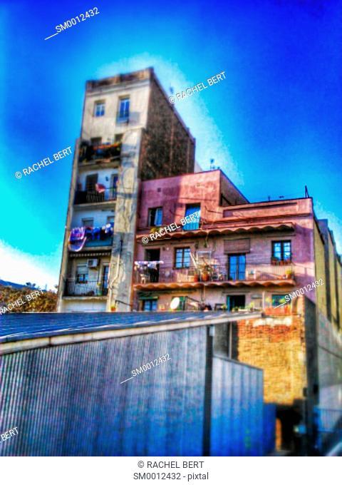 Street Scene, Former Building, Fort Pienc, Barcelona, Catalonia