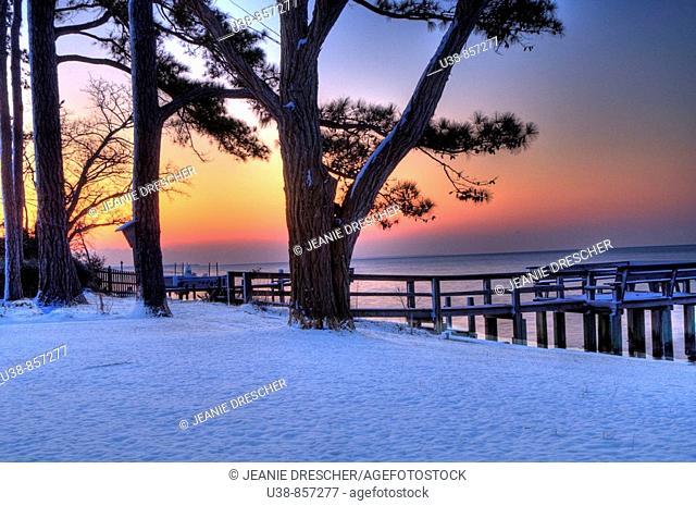 Snowy sunrise on the Albemarle Sound, North Carolina, USA