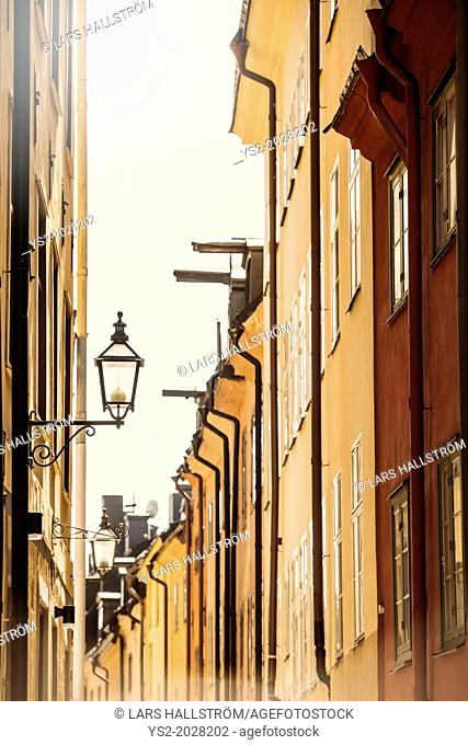 City scene with old buildings in narrow alley in Stockholm, capital of Sweden