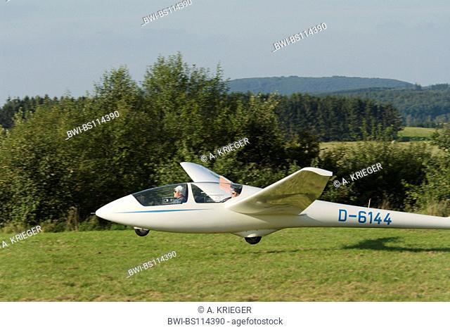 Glider ASK-21 landing, Germany, Saarland