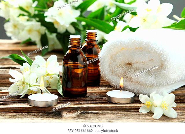 Spa setting on brown wooden background