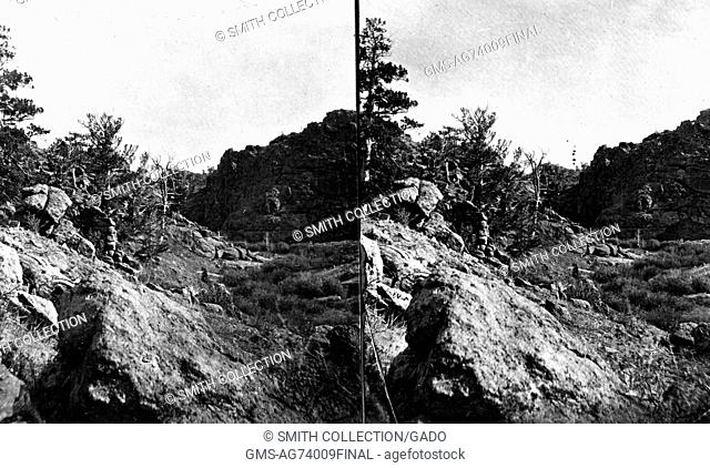 Stereograph of rocky landscape of Devils Gate of Dale Creek in Albany County, Wyoming, 1869. Image courtesy USGS