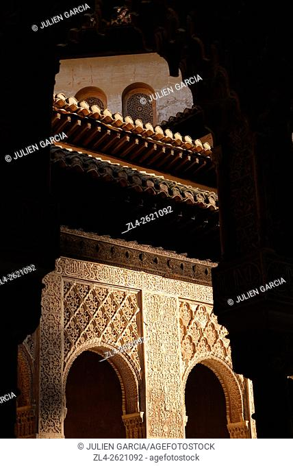 Spain, Andalusia (Andalucia), Granada, the Alhambra Palace, listed as World Heritage by UNESCO, built between 13th and 14th century by the Nasrid Dynasty