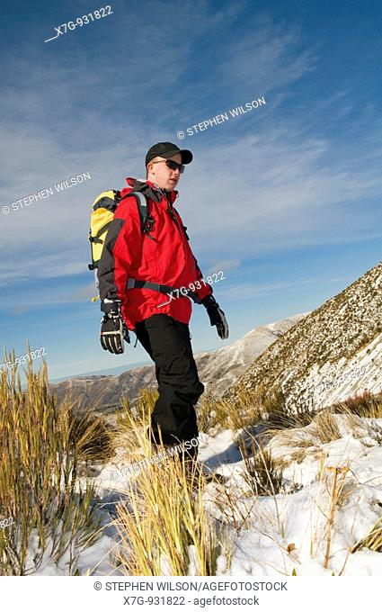 Winter hiking in the Canterbury high country, New Zealand
