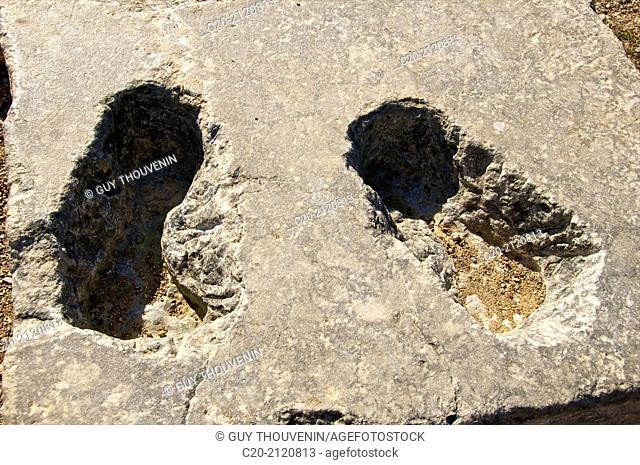 trace of the 2 feet of a roman statue, Apollo temple, Smith mount, Rhodes town , Rhodes island, Greece