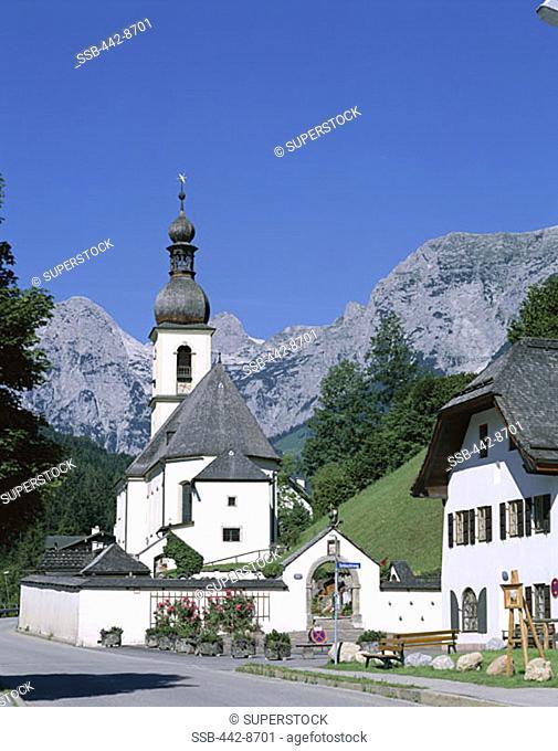 Ramsau Church and Alps Mountains, Ramsau, Berchtesgadener Land, Bavaria, Germany