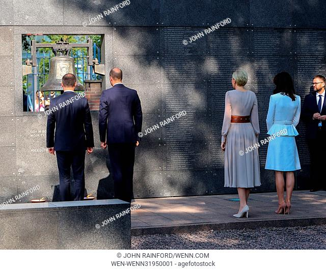 The Duke and Duchess of Cambridge, accompanied by the President of Poland Andrzej Duda and his wife, tour the Warsaw Rising Museum during their visit to Poland...