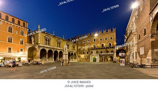 Piazza dei Signori at night, Verona, Veneto, Italy