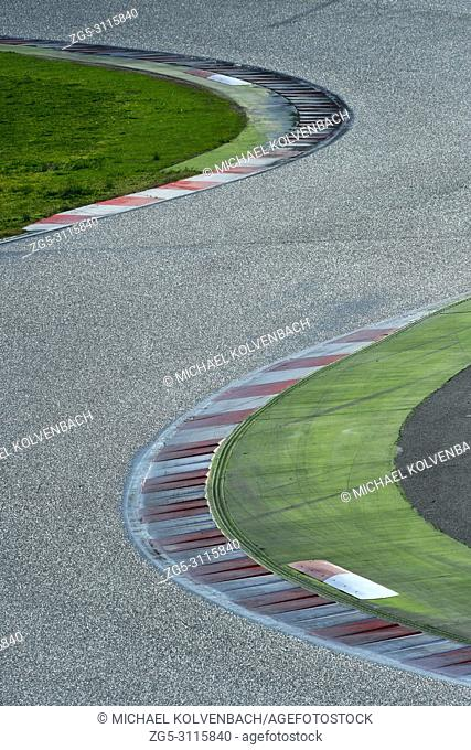 S-curve in motorsport race track. Circuit de Catalunya, Montmelo near Barcelona, Spain