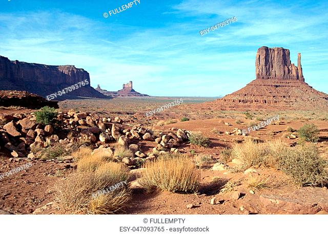 Scenic view of Monument valley landscape in USA