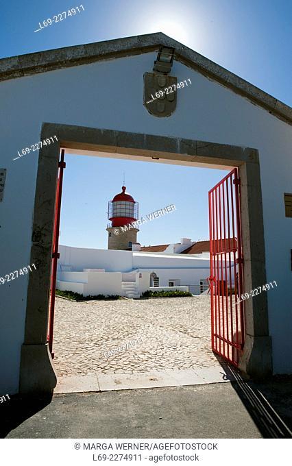 Lighthouse at Cabo de Sao Vicente fim do mundo, Algarve, Portugal, Europe,