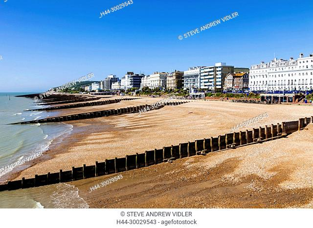 England, East Sussex, Eastbourne, Eastbourne Beach and Town Skyline